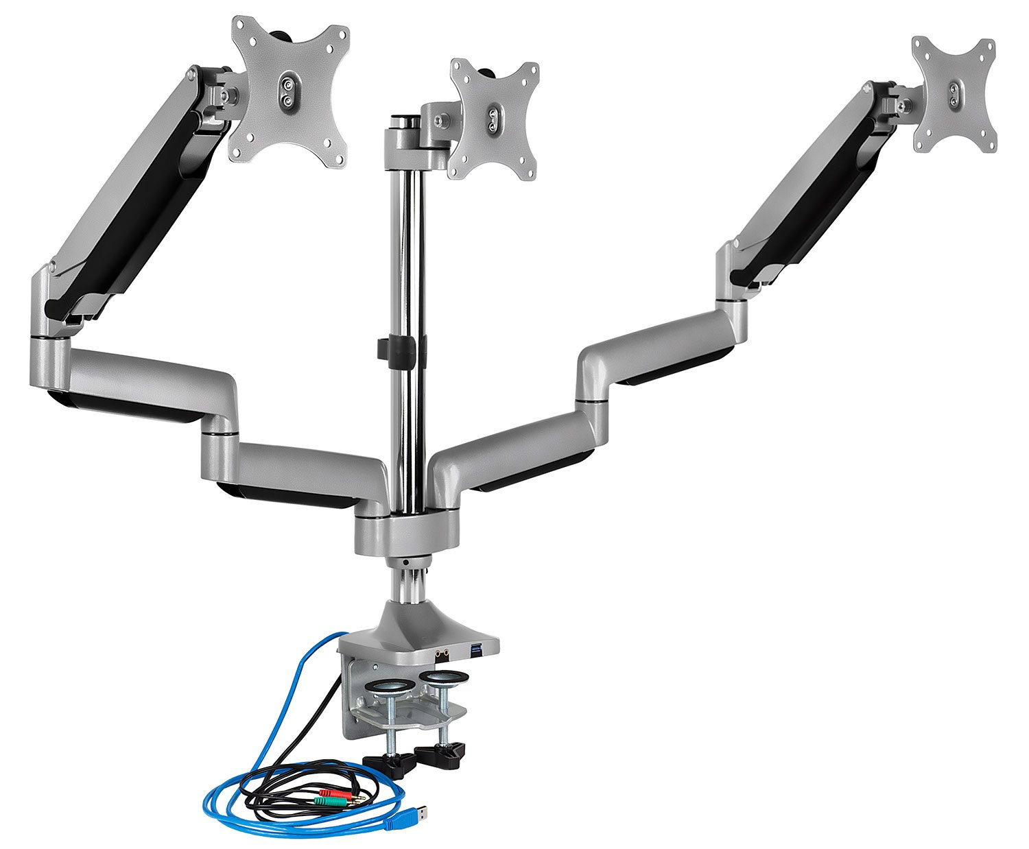 Mount-It! Triple Monitor Mount With USB Port, Height Adjustable 3 Monitor Arm Desk Stand for 24 27 30 32 Inch LED LCD Displays (MI-2753) by Mount-It!