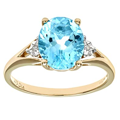 Naava Women's 9 ct White Gold Diamond and Marquise Blue Topaz Ring FBD0m5