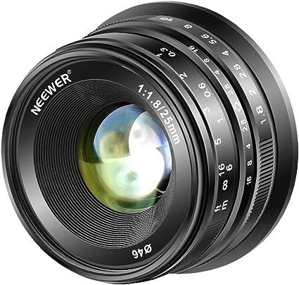 Neewer 25mm F1 8 Aps C Weitwinkelobjektiv Mit Großer Kamera