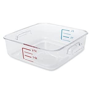 Rubbermaid Commercial Space Saving Food Storage Container, 2 Quart, Pack of 12, FG630200