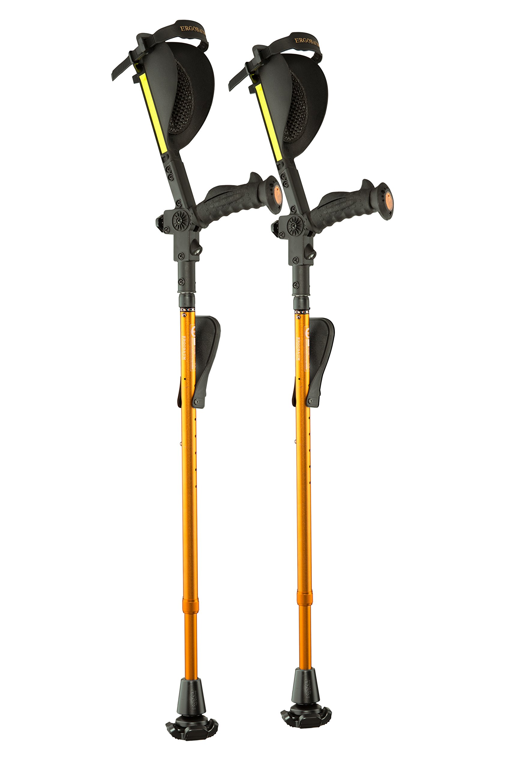 Ergobaum® Prime 7TH Generation By Ergoactives. 1 Pair (2 Units) of Ergonomic Forearm Crutches - Adult 5' - 6'6'' Adjustable. (Gold)