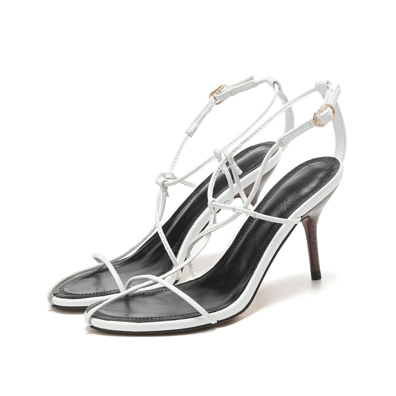 Jqdyl High Heels 2018 Sommer feine Schnalle High Heel Sandaletten  34|white
