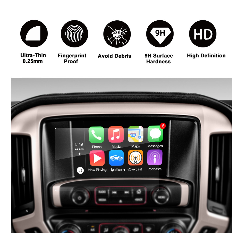 RUIYA 2015 2016 2017 2018 2019 GMC Sierra 1500/2500HD 3500HD INTELLILINK 8-Inch Car Navigation,GMC Infotaintment System HD Clear TEMPERED GLASS Screen Protective Film (8-Inch)