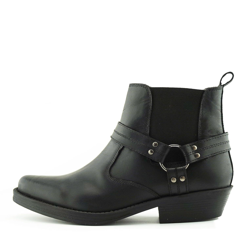 Kick Footwear - Herren Cowboy Biker-Boots Ankle Boots Aus Leder Biker-Boots Cowboy Aus Leder Toe Black-s 4de994
