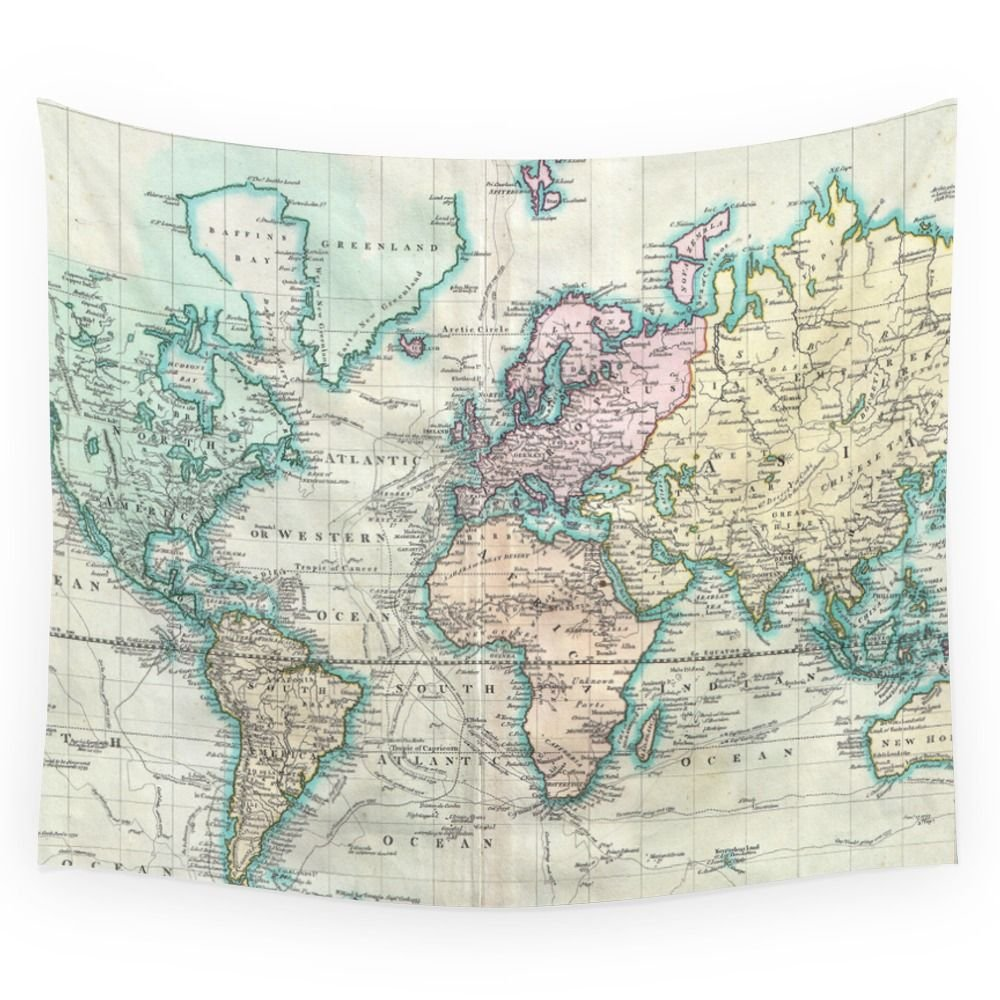 Society6 Vintage Map Of The World (1801) Wall Tapestry Small: