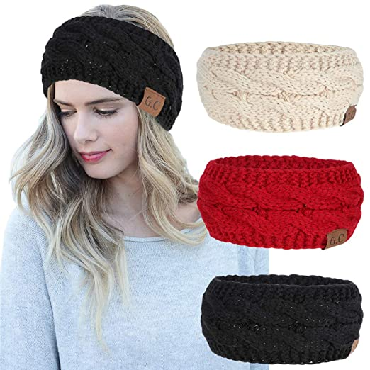 ef573407a Women Headband 3 Pcs Knit Headband Crochet Winter Ear Warmer Twist Girl  Headband