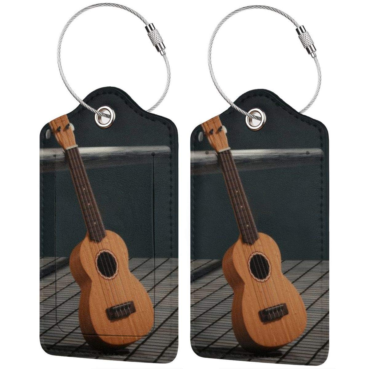 Musical Guitar Luggage Tag Label Travel Bag Label With Privacy Cover Luggage Tag Leather Personalized Suitcase Tag Travel Accessories