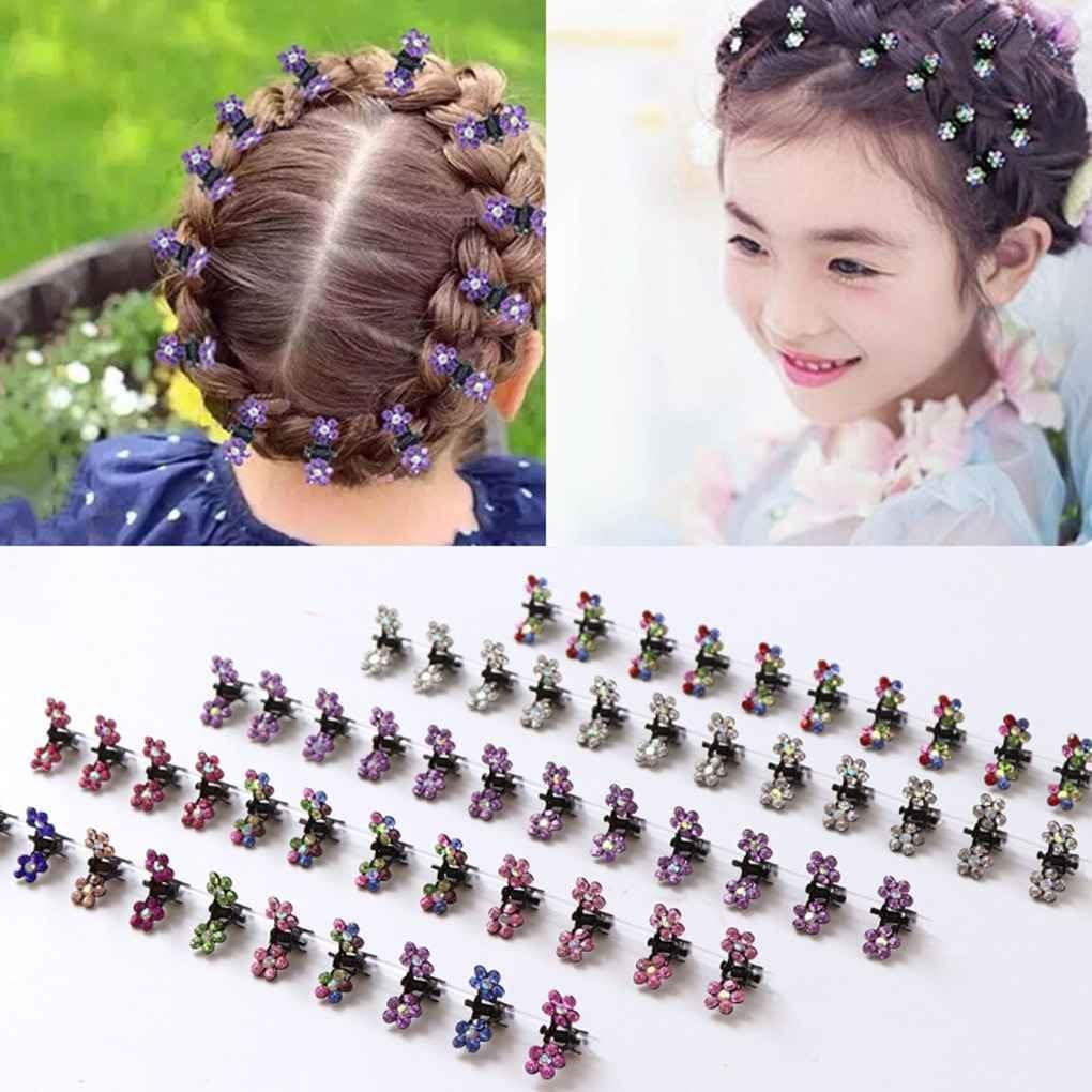 Girls Sweet Crystal Rhinestone Flower Mini Hair Claws Clips Pin Clamps  Y lq
