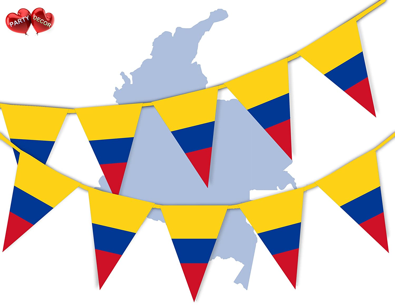 Colombia Full Flag Patriotic Themed Bunting Banner 15 Triangle flags