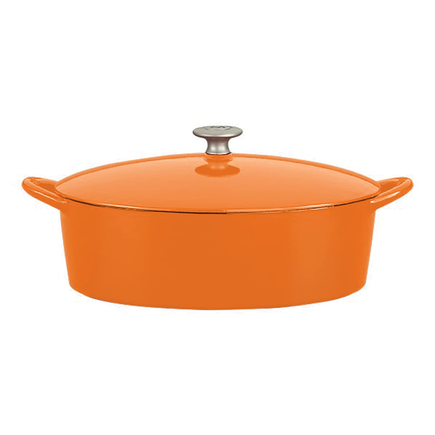 Mario Batali by Dansk Enameled Cast Iron 6-Quart Oval Dutch Oven, Persimmon