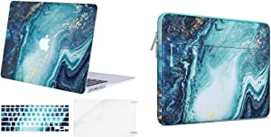MOSISO Plastic Creative Wave Marble Hard Shell Case & Keyboard Cover & Carrying Sleeve Bag Compatible with MacBook Air 13 inch (Models: A1369 & A1466, Older Version 2010-2017 Release), Blue