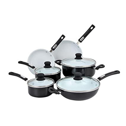 Hamilton Beach 10pc Aluminum Cookware Set, Black, White Ceramic Non-Stick Interior, Flared Edge