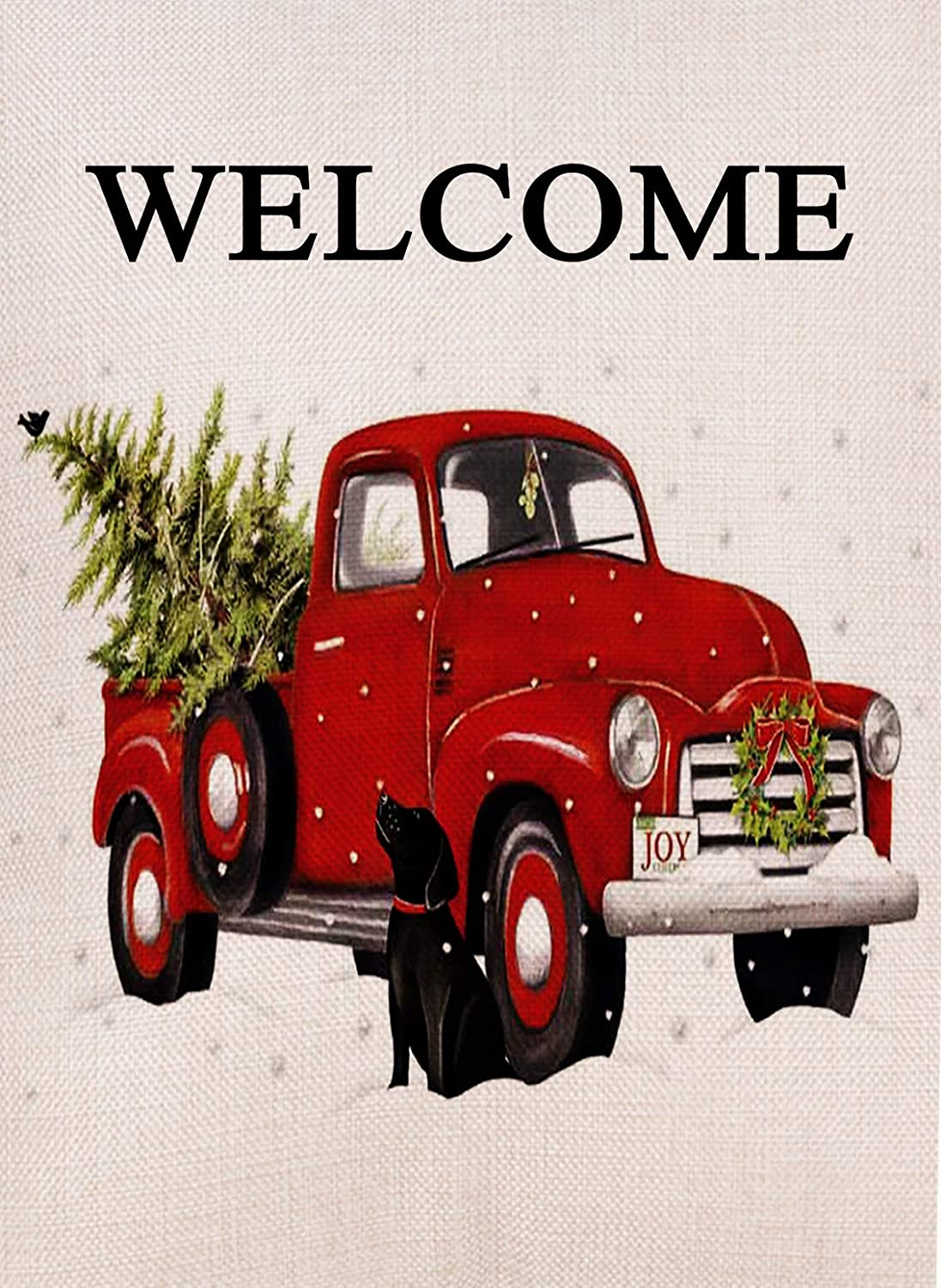 Dyrenson Home Decorative Christmas Garden Flag Welcome Dog, Xmas Quote House Yard Flag with Red Truck Joy, Black Lab Winter Garden Yard Decorations, Rustic Seasonal Outdoor Flag 12 x 18 for Holiday