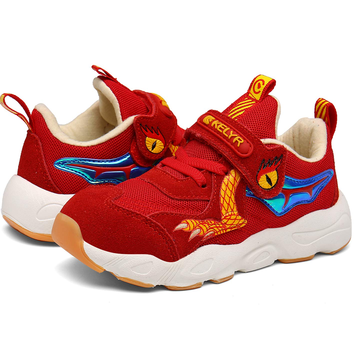 KELYR Kids Running Shoes Boys Tennis Sneakers for Athletic Outdoor Rubber-Sole Slip Resistant Red