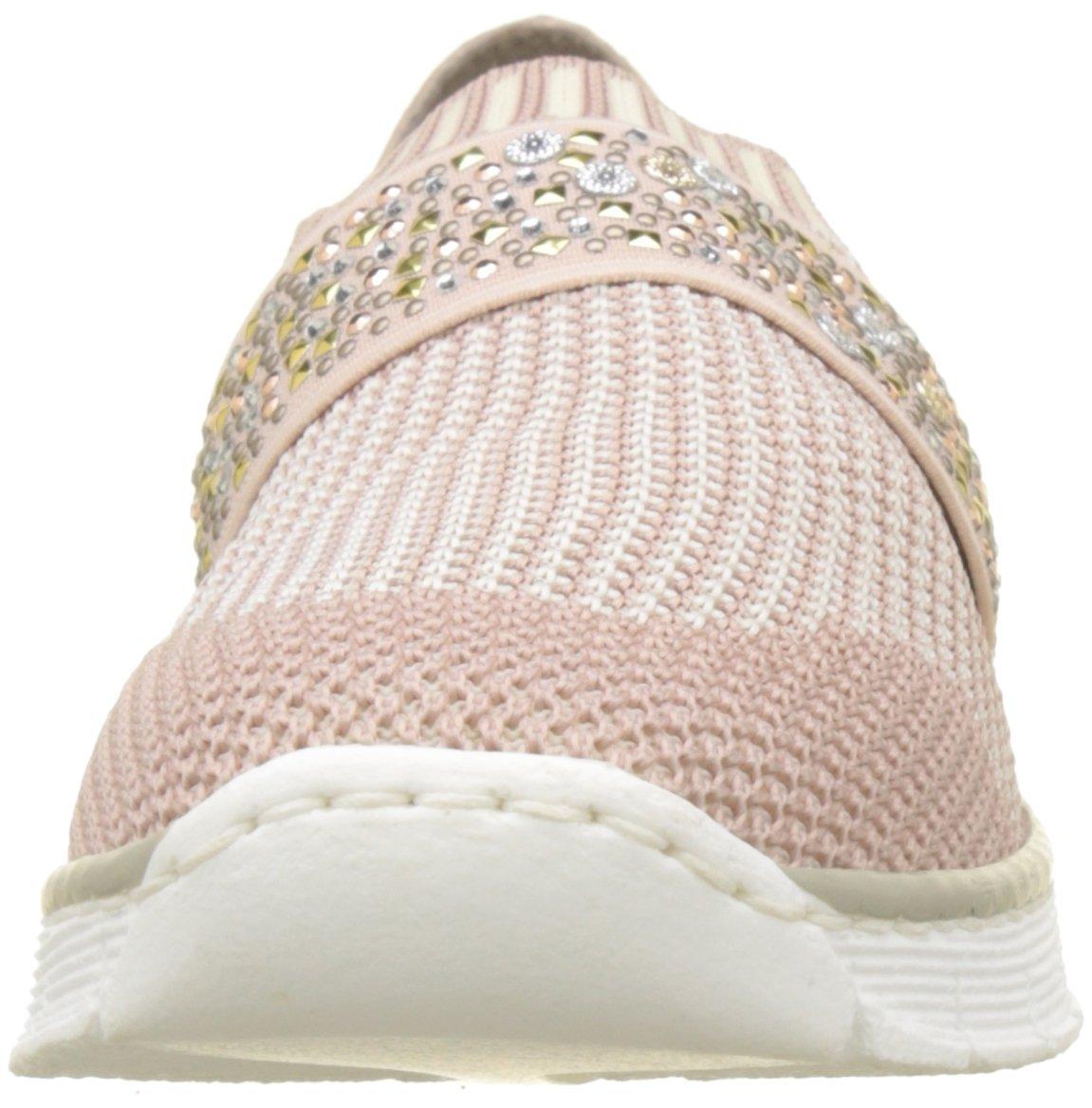 Rieker Damen Slipper 537t6 Slipper Damen Pink (Altrosa-beige/Altrosa/Rose) 6ef1b0