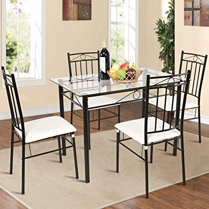 Amazoncom Tangkula 5 Piece Glass Top Metal Dining Set Kitchen