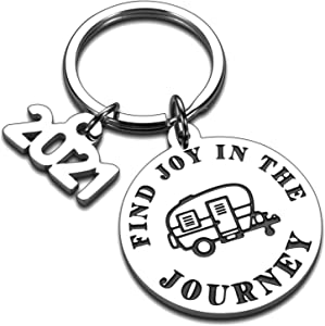 2021 Camping Camper Decor Accessories Decorations Motorhome Graduation Retirement Keychain Gifts for RV Campers Owner Coworker Travel Trailers Women Men Happy Camper Decor RV Decor Gifts