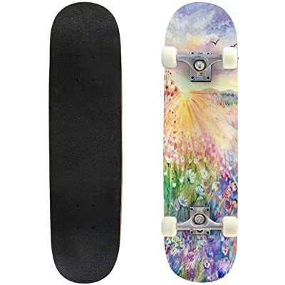 "A Bouquet of nasturtiums in a vase Still Life Painted with Oil Outdoor Skateboard 31""x8"" Pro Complete Skate Board Cruiser 8 Layers Double Kick Concave Deck Maple Longboards for Youths Sports : Sports & Outdoors"
