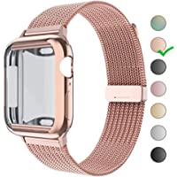 HONEJEEN Compatible for Apple Watch Band 38mm 40mm 42mm 44mm with Screen Protector,Soft TPU Protective Case with Stainless Steel Mesh Loop Replacement for iWatch Band Series 5 4 3 2 1