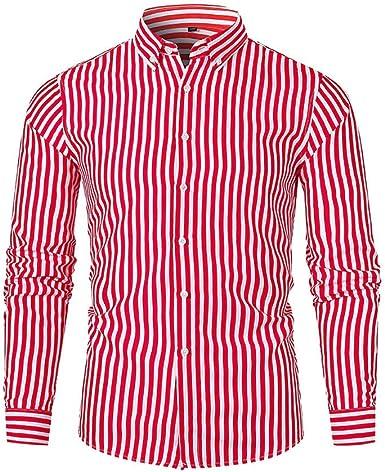 Heetey Camisa Top Hombre Camisa Oktoberfest Hombre Camisa Slim Fit Manga Larga Camisas Otoño Invierno Beiläufige Finas Rayas Manga Larga Camisa de Parte Superior Blusa Business Casual Camisa: Amazon.es: Ropa y accesorios