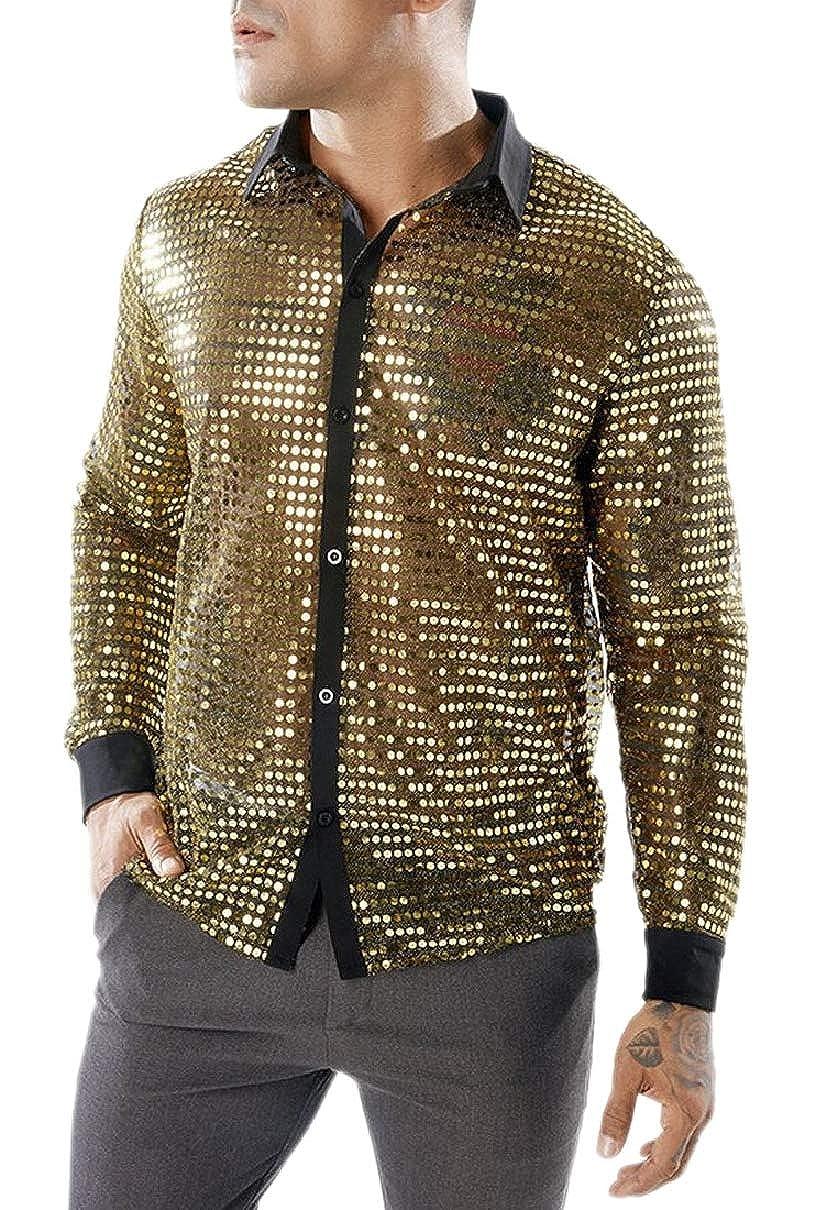 YIhujiuben Mens Long Sleeves See Through Sequin Club Woven Shirt
