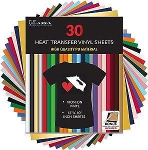 "Kassa HTV Heat Transfer Vinyl Bundle - 30 Sheets (12"" x 10"") - Iron on Vinyl for Cricut & Heat Press Machine - Perfect for T Shirts & Other Fabric - Bonus Teflon Sheet"