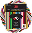 "Kassa HTV Heat Transfer Vinyl Bundle - 30 Sheets (12"" x 10"") - Iron on Vinyl for Cricut & Heat Press Machine - Perfect for T Shirts & Other Fabric - Bonus Teflon Sheet & Weeding Tool"