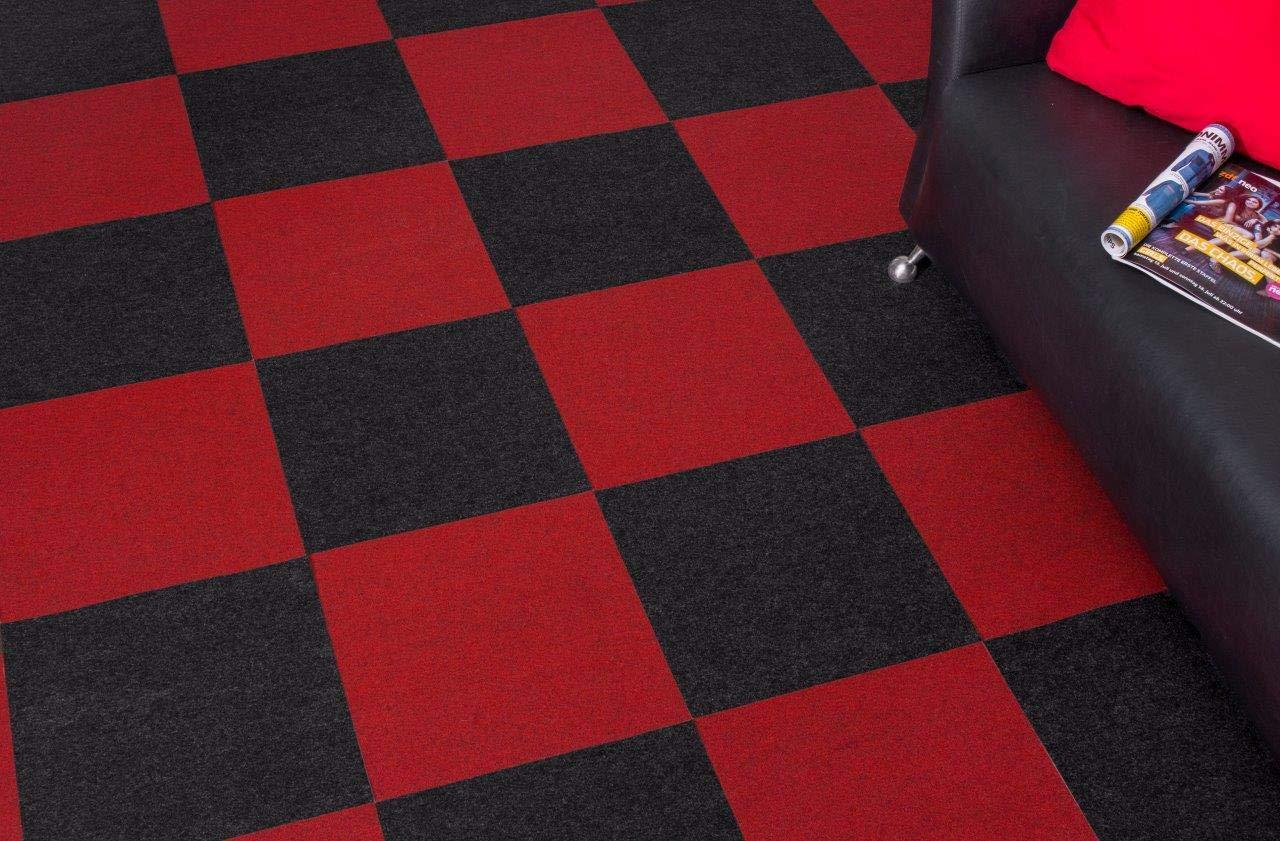 Tama/Òo:8 m/≤ Color:Rojo andiamo Losetas de Moqueta Autoadhesivo Alfombra Piso Fieltro 40 x 40 cm Conjunto