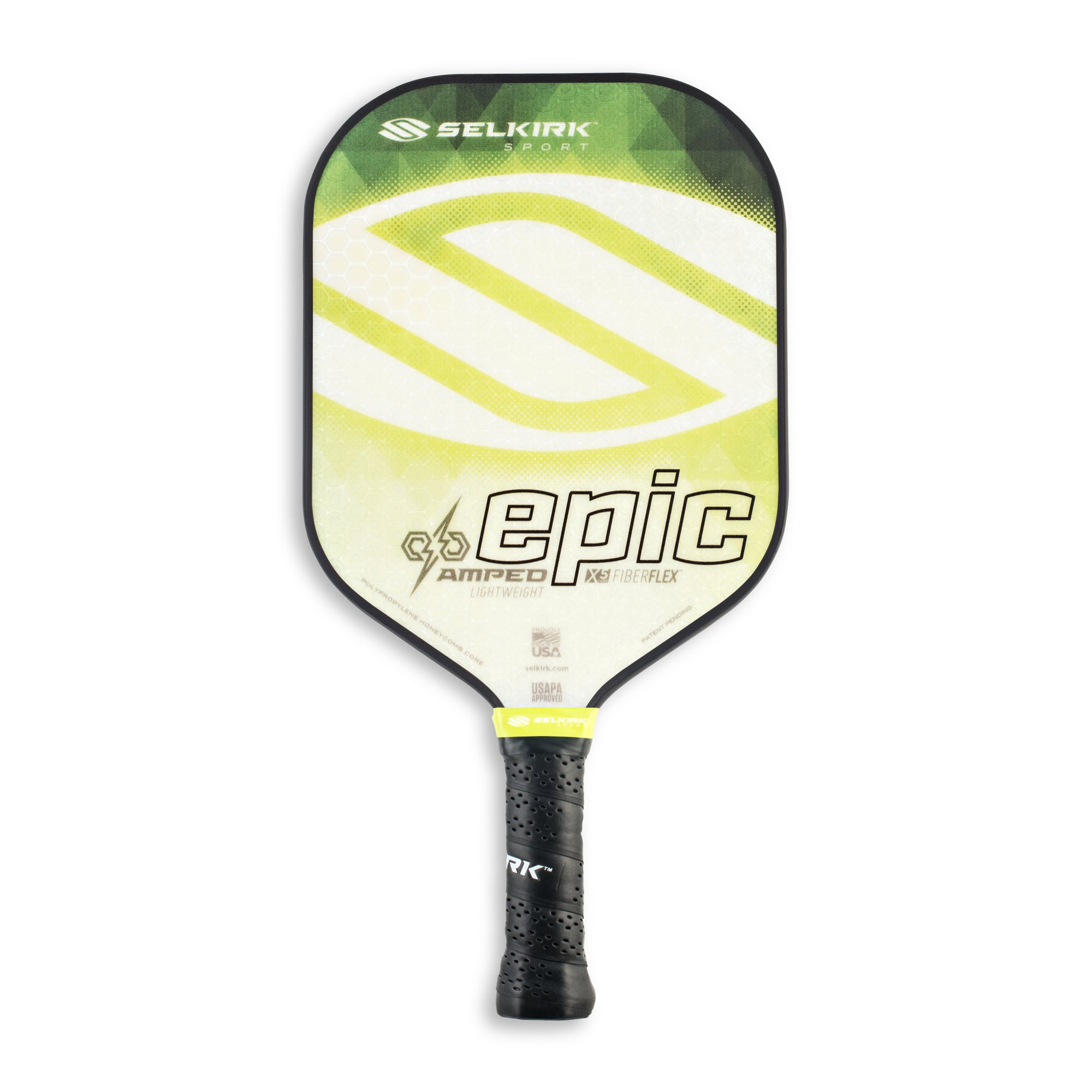 Selkirk Amped Pickleball Paddle - USAPA Approved - X5 Polypropylene Core - FiberFlex Fiberglass Face - 5 Sizes: Epic, S2, Omni, Maxima, and INVIKTA (Epic Lightweight - Emerald Green)