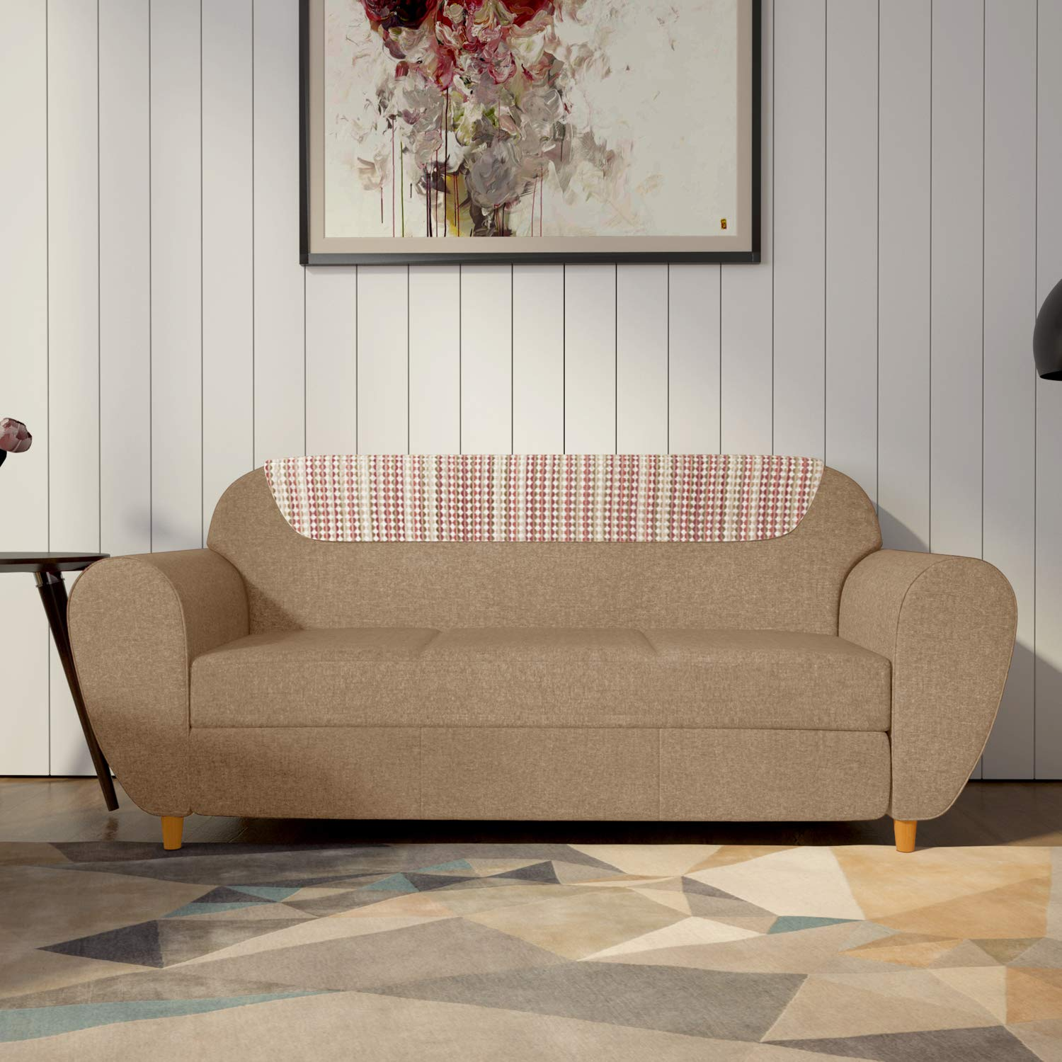 GODREJ INTERIO Petal Three Seater Sofa (Matte Finish, Sand Beige)