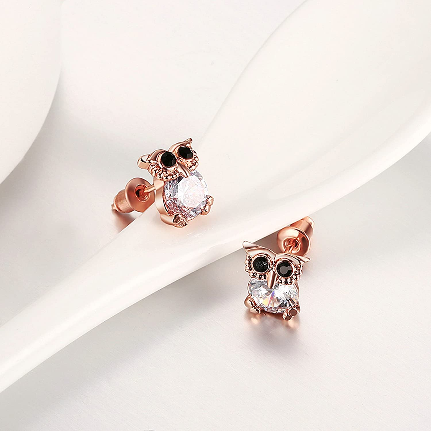 Gnzoe Fashion Jewelry 18K Rose Gold Plated Stud Earrings Women Night Owl Crystal Eco Friendly