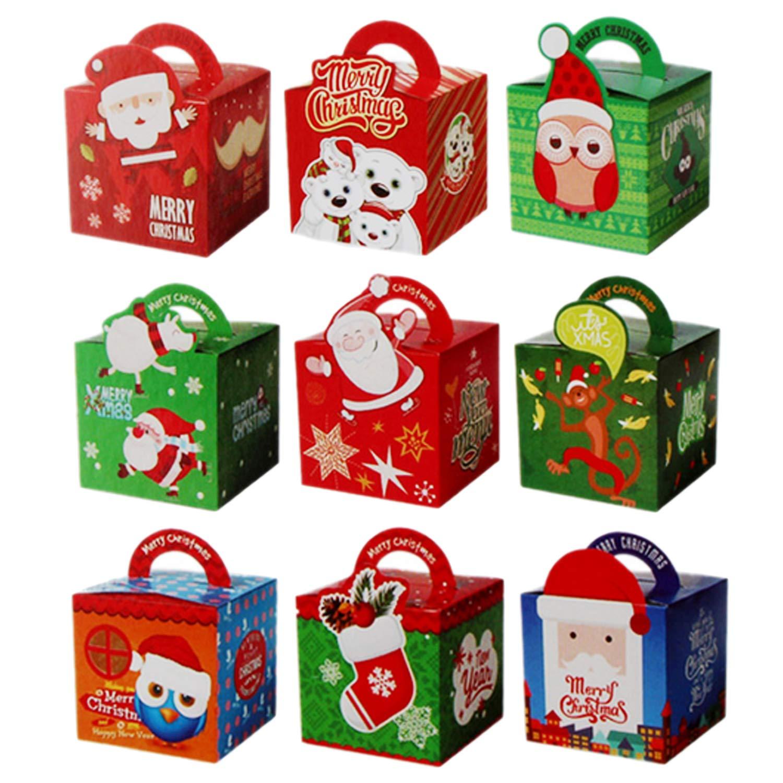 Gosear 50 UNIDS Surtido Estilo Feliz Navidad Dulces Fruta Regalo Presente Cajas de Papel con Mango para Festival Holiday Party Supplies