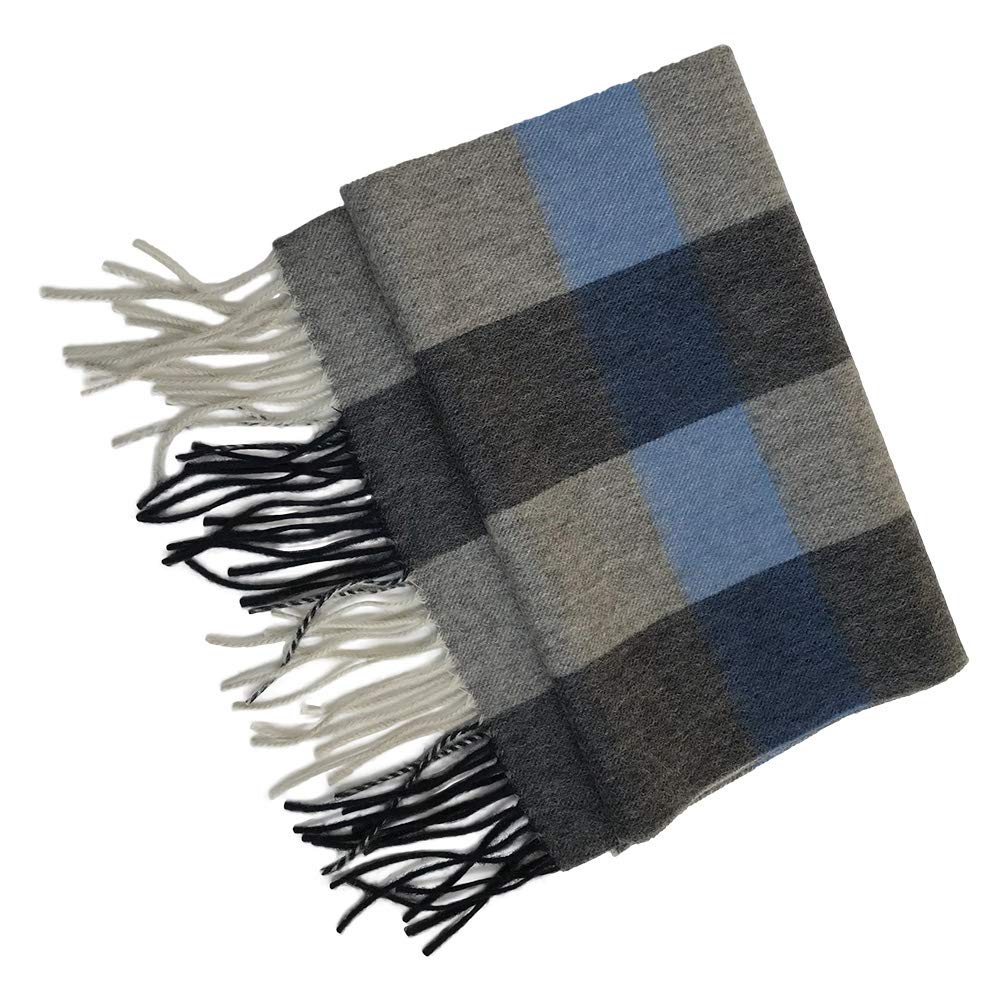 100/% Premium Wool Scarf Solid Color Striped Plaid Lightweight Scarf for Men and Women black and blue plaid
