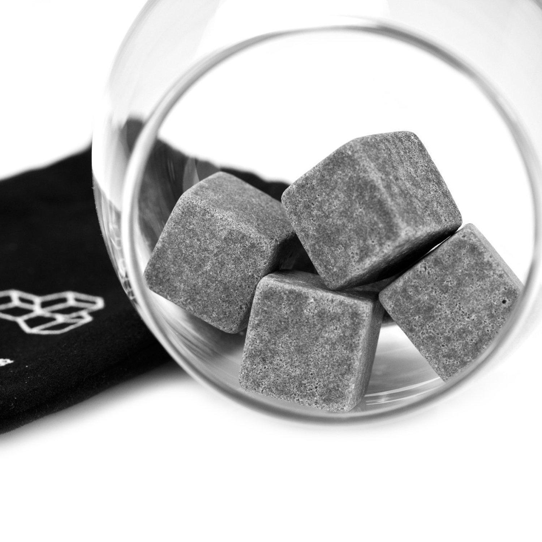 Grenhaven 9pcs Whisky Pierres Ice Cubes Gla/çons st/éatite Glacons en Pierre avec sac de cordon refroidisseurs de boissons Bi/ère Rocks Granite Pouch
