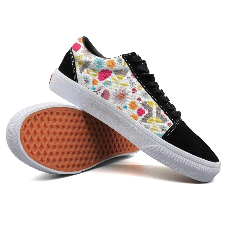 Armsttm Women Skate Shoes Floral Leaves Flower Classic Suede Sneaker Tennis Shoe Laces