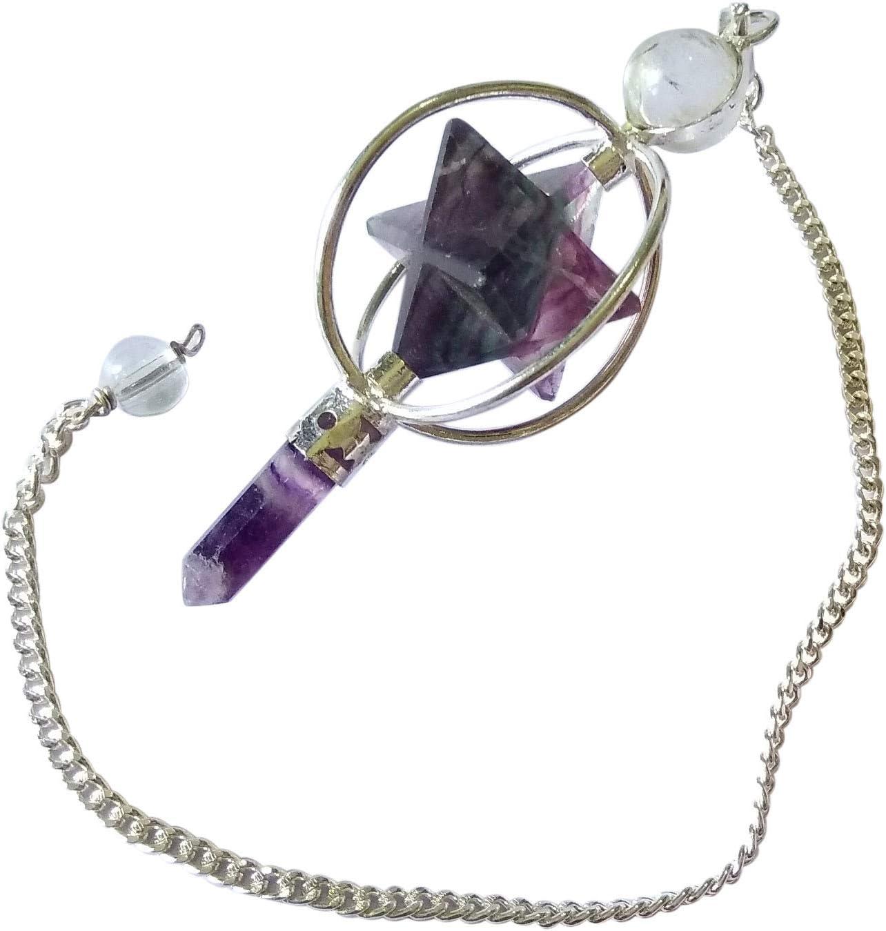 Pendulum Reiki Energy Charged Amethyst Merkaba Pendant