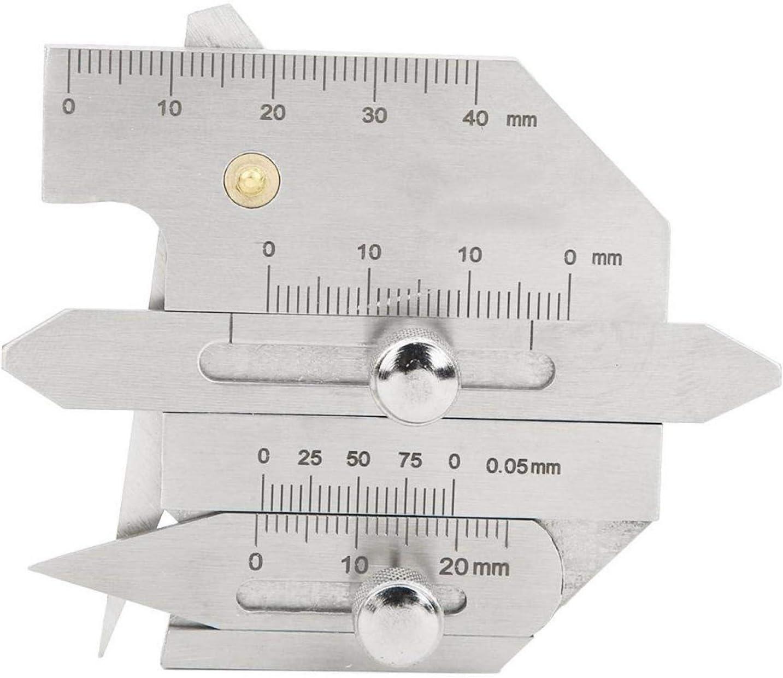 Regla de inspección de soldadura, calibre de costura Calibrador de inspección de soldadura de acero inoxidable, no se raya fácilmente para puentes de calderas