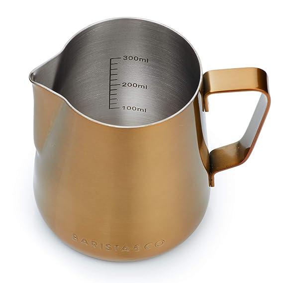 Barista & Co Core - Jarra de leche profesional (acero inoxidable, 420 ml y 600 ml) 420ml dorado