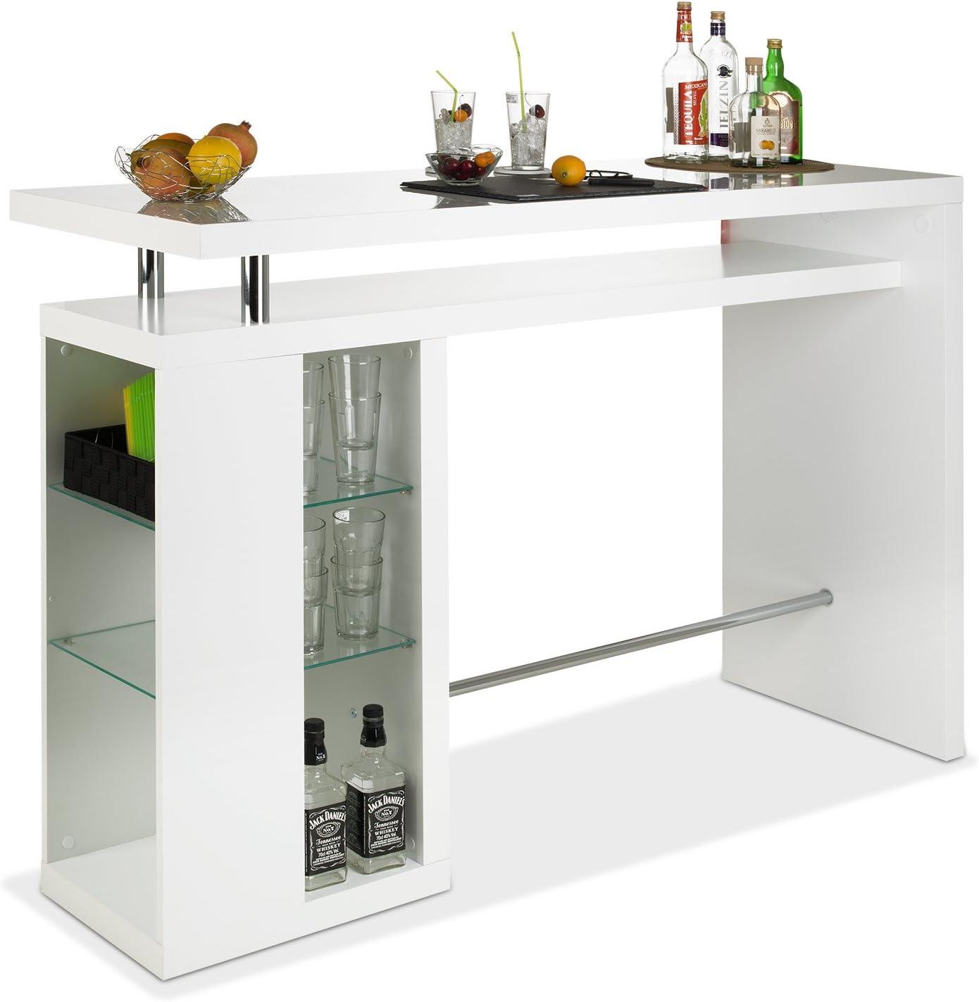 Bar Hausbar Cocktailbar Bartheke | Dekor Weiß Hochglanz | Glaseinlegeböden: Amazon.de: Küche & Haushalt - Theke Bar