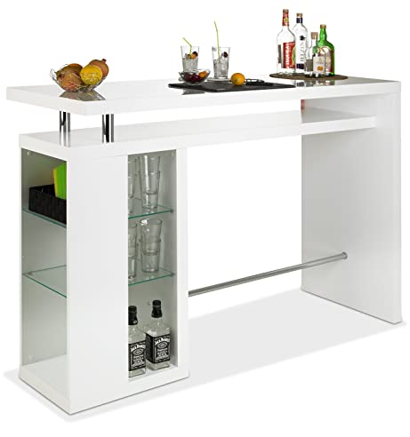 Bar Hausbar Cocktailbar Bartheke Camaro | Dekor Weiß Hochglanz