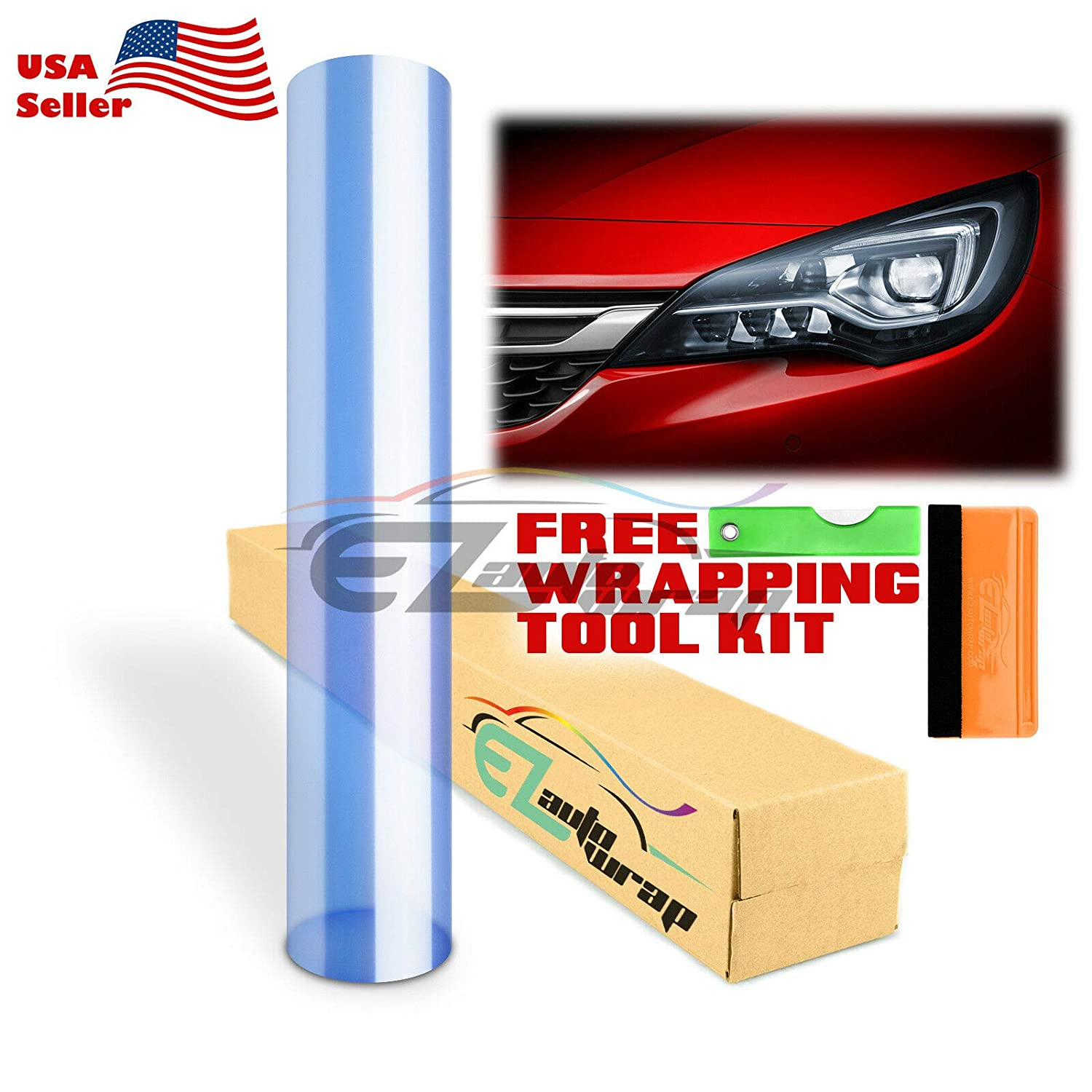 EZAUTOWRAP Free Tool Kit 12x60 Glossy Clear Transparent Headlight Taillight Fog Light Side Marker Vinyl Tint Film Self Adhesive 1FT x 5FT