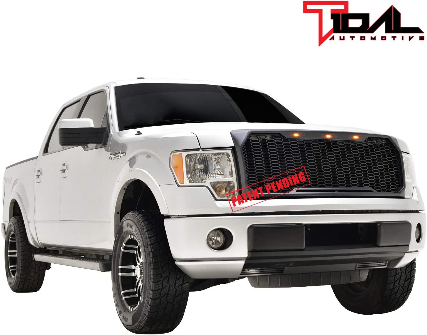 Tidal Replacement Upper Grille Front Grill with Amber LED Lights for 09-14 Ford F150 Matte Black