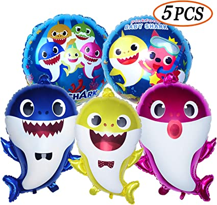 4 Style Baby Shark Foil Balloon Children/'s Favor Birthday Party Supplies Decor