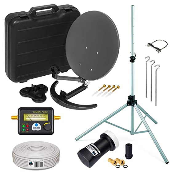 HD Camping Sat Anlage im Koffer ? Stativ von HB-DIGITAL: Mini Sat Schüssel 40cm Anthrazit + Stativ + UHD Single LNB 0,1 dB +
