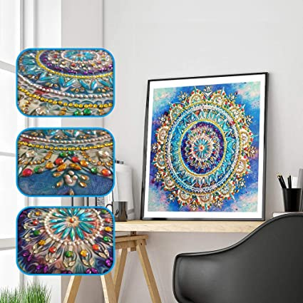 Franterd Mandala Home Wall Decor Special Shaped Diamond Painting Diy 5d Partial Drill Cross Stitch Kits Crystal Rhinestone Of Picture Diamond