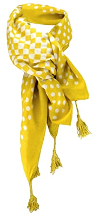 dames foulard jaune jaune moutarde blanc à pois taille 100 cm x 100 cm -  tissu 3047e88ce17