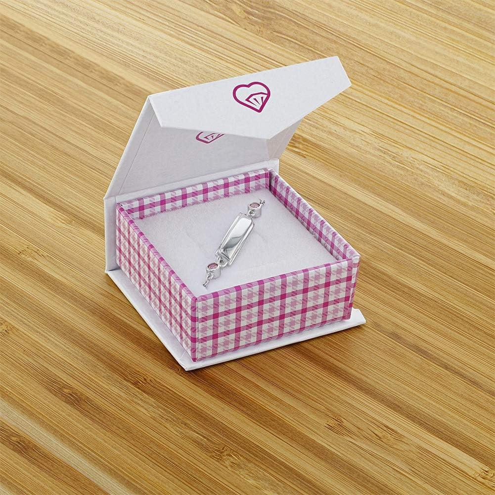 Argent 925//1000 Rose Zircone Cubique Nouveau-n/é L/'identifiant d/'/étiquette In Season Jewelry Bracelet ID 11 cm