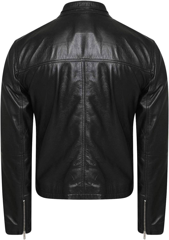 Mens Biker Cafe Racer Vintage Motorcycle Black Leather Jacket for Men