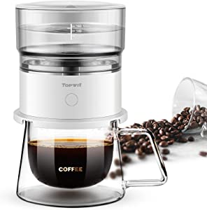 Topwit Automatic Pour Over Coffee Maker, Battery-Powered 160ml Coffee Machine with Reusable Stainless Steel Mesh, Portable Coffee Brewer with Tritan Water Tank, Compact for Outdoor (Mug Not Included)