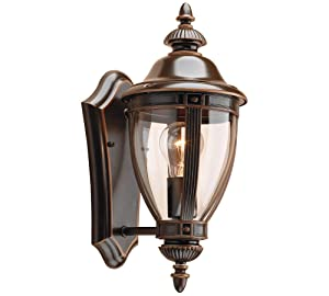 NOMA Four-Sided Outdoor Wall Lantern | Waterproof Outdoor Up-Facing Exterior Light for Front Door, Backyard, Garage, Patio or Décor | Bronze Finish with Clear Glass Panels